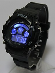 preiswerte -Kinder Digitaluhr Armbanduhr Modeuhr Quartz digital LED Silikon Band Cool Schwarz