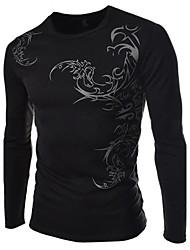 Men's Print Casual / Work / Formal / Sport T-Shirt,Cotton Blend Long Sleeve-Black / White