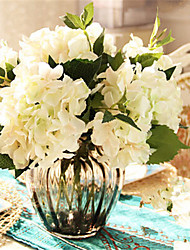 Five White Hygrangeas Artifical Flowers With Grey Vase Home Decoration