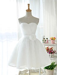 cheap -Knee-length Tulle / Stretch Satin Lace-up Bridesmaid Dress - Ball Gown Sweetheart with Flower(s) / Criss Cross