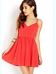 cheap -Women's Street chic A Line Sheath Dress - Solid Colored, Backless