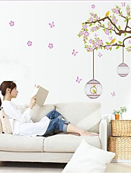 Недорогие -съемный окружающей среды цветок ротанга и птичья клетка в форме стикер стены