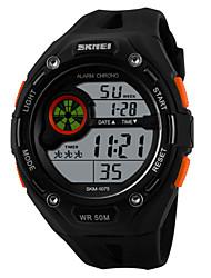 SKMEI Herre Sportsur Digital Watch Quartz Digital Japansk Quartz LCD Kalender Kronograf Vandafvisende alarm Gummi Bånd SortSort Orange