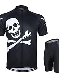 baratos -Arsuxeo Manga Curta Camisa com Shorts para Ciclismo - Preto Caveiras Moto Shorts Camisa / Roupas Para Esporte Conjuntos de Roupas,