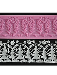 cheap -FOUR-C Embossing Lace Mat Christmas Tree Cake Design Mold Color Pink