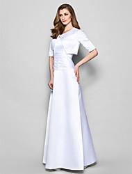 Linea-A Con decorazione gioiello Lungo Raso Abito da cerimonia per signora - Con ruche Spilla di cristallo di LAN TING BRIDE®