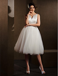 cheap -Ball Gown V-neck Knee Length Satin Tulle Wedding Dress with Sash / Ribbon Bow by LAN TING BRIDE®