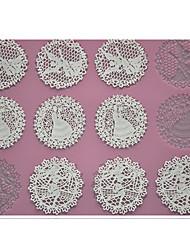 baratos -quatro c mat bolo pad ferramentas de cozimento embossing silicone rendas para decoração, almofada baking esteira do laço cor-de-rosa ferramentas de