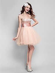 abordables -Robe de bal sweetheart short / mini tulle robe de bal avec perles by ts couture®