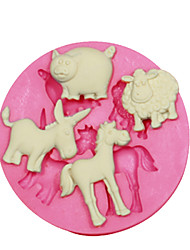cheap -Animal Shape Mould Sheep Pig Donkey Horse Cake Decorating Silicone Mold For Fondant Candy Crafts Jewelry PMC Resin Clay