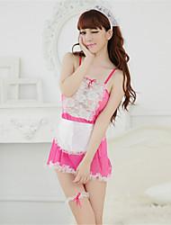 Ultra Sexy Uniformes & Tenues Chinoises Costumes Vêtement de nuit Femme Mosaïque Dentelle Polyester Rose Noir