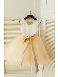 cheap -Ball Gown Knee Length Flower Girl Dress - Lace Tulle Sleeveless Jewel Neck with Bow(s) Sash / Ribbon Pleats by LAN TING BRIDE®