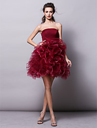 Ball Gown Strapless Short / Mini Tulle Cocktail Party Homecoming Prom Dress with Ruffles Criss Cross Ruching by TS Couture®