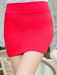cheap -Women's Daily Going out Mini Skirts,Sexy Bodycon Cotton Others Solid All Season All Seasons