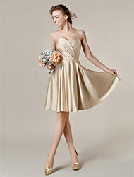 cheap -A-Line Princess Strapless Jewel Neck One Shoulder V-neck Sweetheart Bateau Neck Knee Length Satin Bridesmaid Dress withPockets Criss