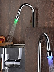 Contemporain Pull-out / Pull-down Montage LED with  Soupape céramique Mitigeur un trou for  Chrome , Robinet de Cuisine