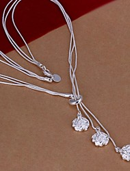 cheap -Women's Roses Flower Pendant Necklace Sterling Silver Pendant Necklace , Wedding Party Daily Casual