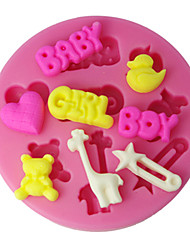 cheap -FOUR-C Silicone Cup Cake Mold Boy Girl And Baby Sugarpaste Mould,Fondant Decorating Tools Supplies Color Pink