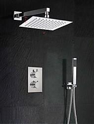 economico -Moderno Montaggio su parete Termostatico Valvola in ottone Due Due maniglie Due fori Cromo, Rubinetto doccia