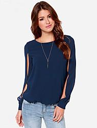 economico -DONNE - T-shirt - Informale Rotondo - Maniche lunghe Chiffon