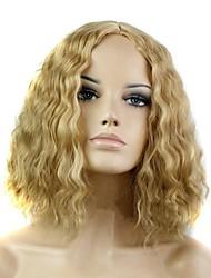 abordables -Perruque Synthétique Bouclé Coupe Asymétrique / Partie médiane Cheveux Synthétiques Ligne de Cheveux Naturelle Blond Perruque Femme Court / Moyen Sans bonnet