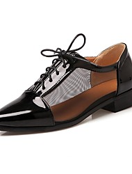 cheap -Women's Shoes Patent Leather Spring / Fall Chunky Heel / Block Heel Zipper / Lace-up Black / White