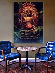 E-HOME® Stretched LED Canvas Print Art The Buddha Flash Effect LED Flashing Optical Fiber Print