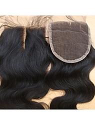 "cheap -4x4 8"" Middle Part Lace Top Closure Body Wave Brazilian Virgin Hair Closure 1Piece"