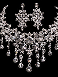 Silver Alloy Wedding/Party Jewelry Set With Rhinestone