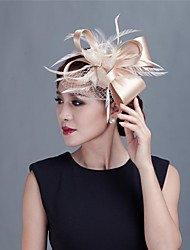 cheap -Women Wedding/Party Satin Fascinator with Feathers 1990 Elegant Style