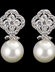 cheap -Women's 1 Drop Earrings Pearl Cubic Zirconia Alloy Jewelry Silver Costume Jewelry