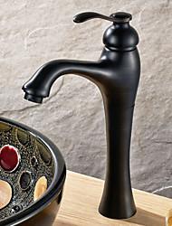 Traditionel Centersat Keramik Ventil Et Hul Enkelt håndtag Et Hul Olie-gnedet Bronze, Håndvasken vandhane