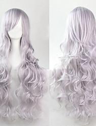 cheap -The new European and American high-temperature silver silk long curly hair wig 80CM