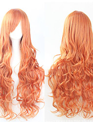 cheap -The new European and American high-temperature  Wire Chestnut Brown Long Curly Hair Wig80CM