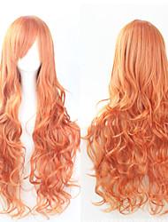 cheap -Synthetic Wig Curly Golden Asymmetrical Haircut Synthetic Hair Natural Hairline Golden Wig Women's Long Capless