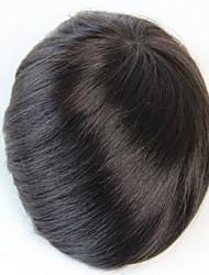 cheap -8x10 Men's Toupee Human Hair Piece  Natural Black Colour #1B
