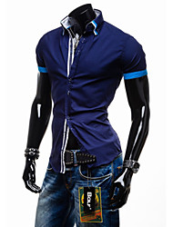economico -MEN - Camicie casual - Informale Quadrato - Maniche corte Cotone organicp