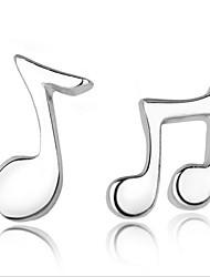 Feminino Brincos Curtos bijuterias Prata de Lei Nota Musical Jóias Para Festa Diário Casual