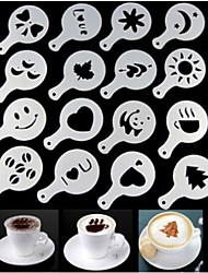 16PCS Plastic Fancy Coffee Making Printing Model Minimalist Design Dusting Pad