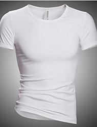 Недорогие -Повседневный - MEN - Футболки ( Смешанная хлопковая ткань V-образный - Короткий рукав