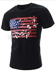 baratos -T-Shirts ( Mistura de Algodão ) MEN - Casual Redondo - Manga Curta