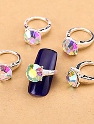 cheap -New 10PCS AB Nail Art Jewelry Pinkie Nail Rings Alloy Rhinestone Aryclic Nail Tips Decorations