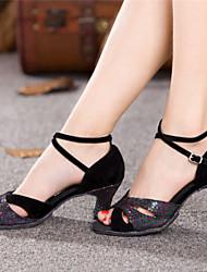 Для женщин Латина Лакированная кожа На высоких каблуках На толстом каблуке Черный 5,5 см Не персонализируемая