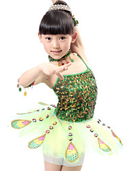 cheap -Shall We Ballet Performance Dresses Children Polyester/Tulle Peacock Sequins Dress Red/Green Kids Dance Costumes