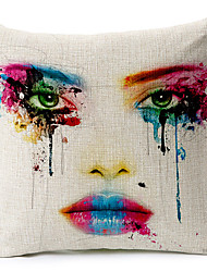 Modern Style Painted Face Patterned Cotton/Linen Decorative Pillow Cover