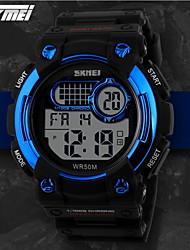 SKMEI Herre Sportsur Digital Watch Quartz Digital Japansk Quartz LCD Kalender Kronograf Vandafvisende alarm Gummi Bånd SortSort Gul Rød