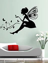 pegatinas de pared Tatuajes de pared, estilo tallado versión flor de hadas de soltera de pvc pegatinas de pared