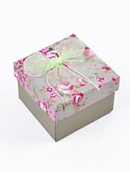 cheap -Elegant Flora Print Lace Bow Paper Square Box