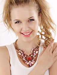 povoljno -Žene Kristal Izjava Ogrlice - Luksuz Statement Moda Crvena Pink Svjetloplav Ogrlice Za Party