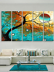 cheap -E-HOME® Stretched Canvas Art The Colorful Tree Decorative Painting  Set of 5